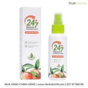 xịt rửa tay khô 247 true natural