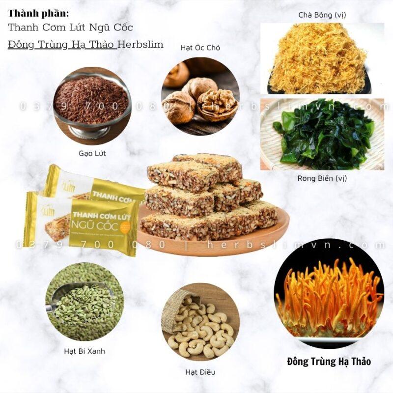 thành phần thanh cơm lứt ngũ cốc đông trùng hạ thảo herbslim
