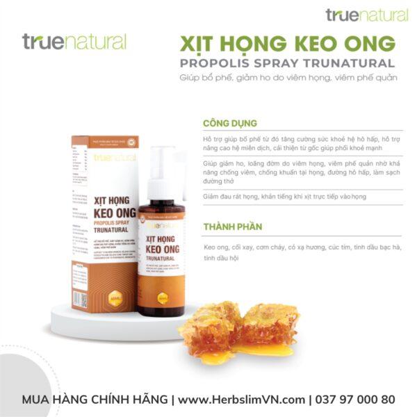 công dụng của Xịt họng Keo Ong True Natural (60ml) - Bổ phế, giảm ho, tiêu đờm, giảm đau viêm họng