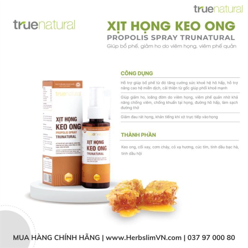 Xịt họng Keo Ong True Natural (60ml) - Bổ phế, giảm ho, tiêu đờm, giảm đau viêm họng